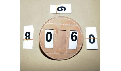 Porte numéro cuir luxe rond pour harnais cuir naturel