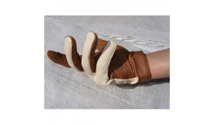 Gant cuir et tissu