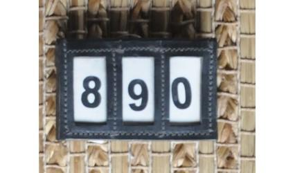 Porte numéro cuir luxe noir pour licol